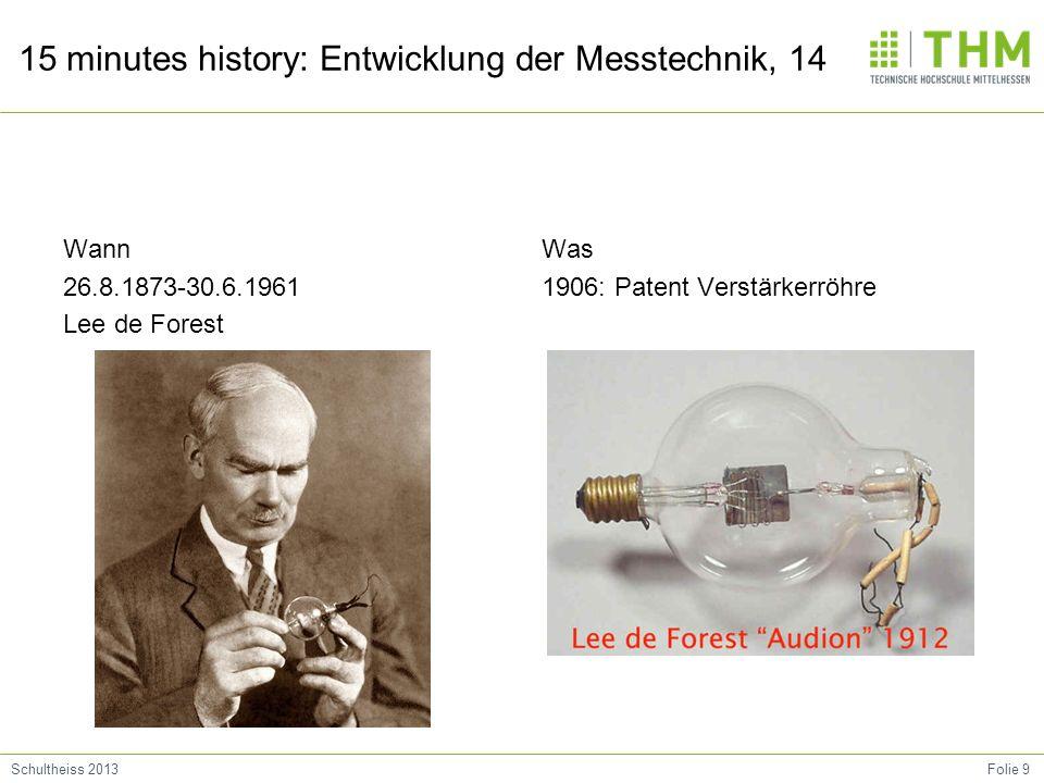 Wann 26.8.1873-30.6.1961 Lee de Forest Was 1906: Patent Verstärkerröhre
