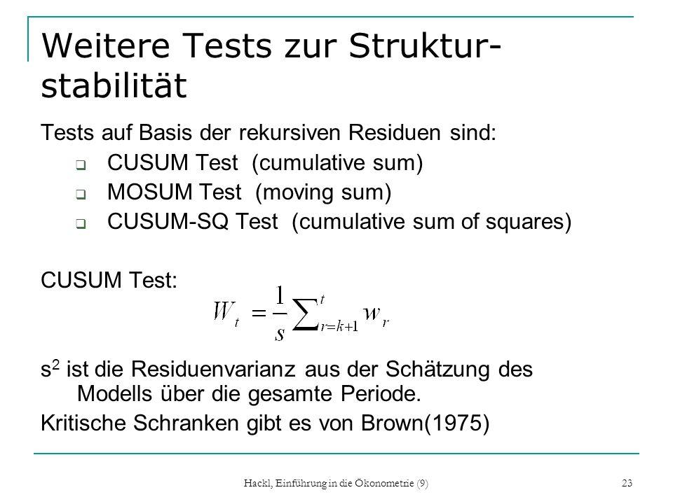 Weitere Tests zur Struktur- stabilität