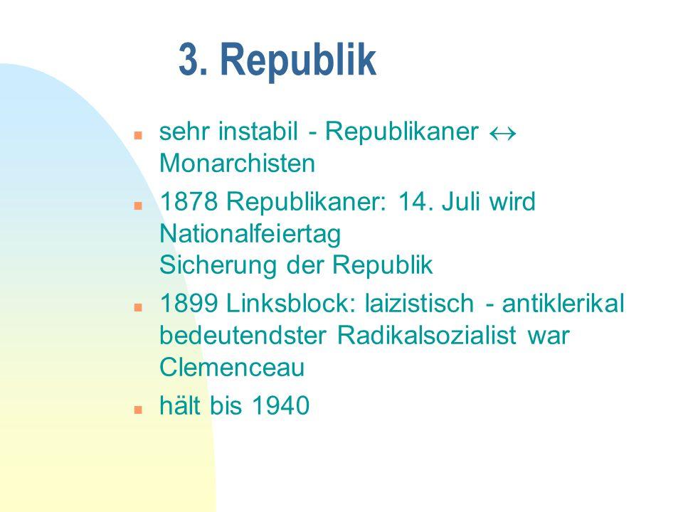3. Republik sehr instabil - Republikaner  Monarchisten