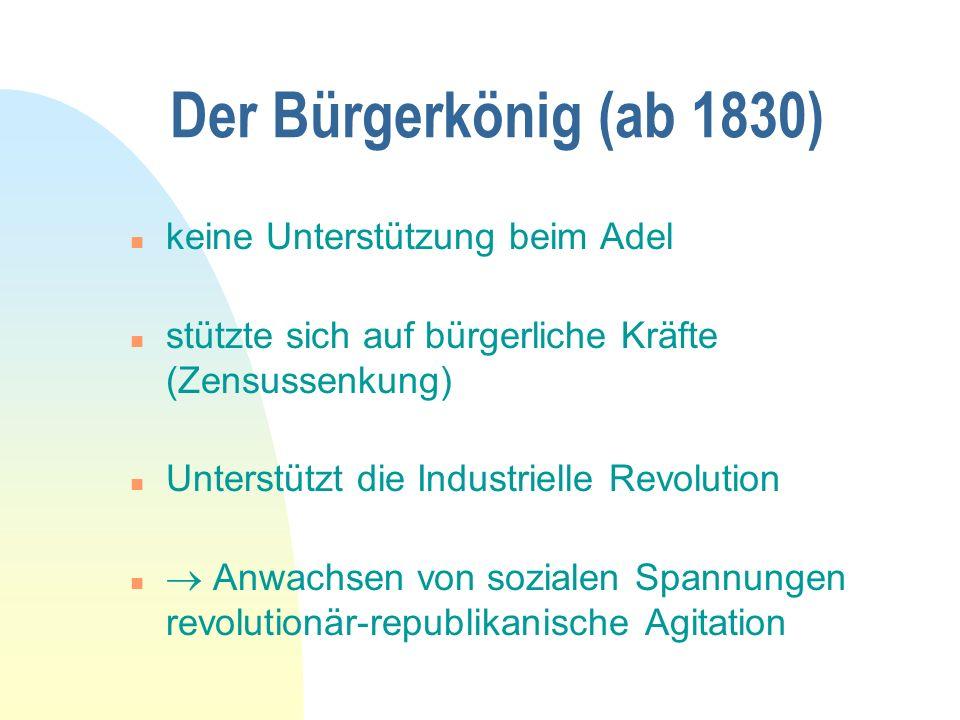 Der Bürgerkönig (ab 1830) keine Unterstützung beim Adel