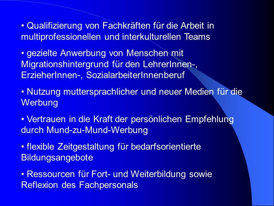 Qualifizierung von Fachkräften für die Arbeit in multiprofessionellen und interkulturellen Teams