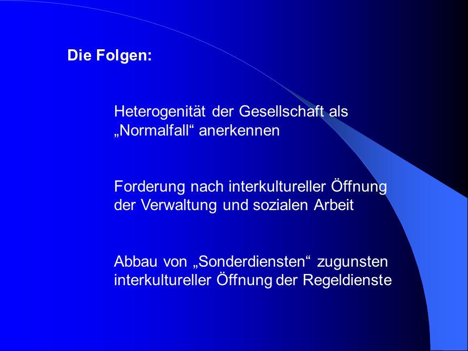 """Die Folgen: Heterogenität der Gesellschaft als """"Normalfall anerkennen. Forderung nach interkultureller Öffnung der Verwaltung und sozialen Arbeit."""