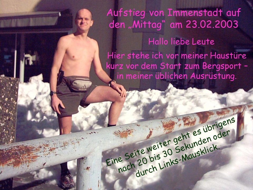 """Aufstieg von Immenstadt auf den """"Mittag am 23.02.2003"""