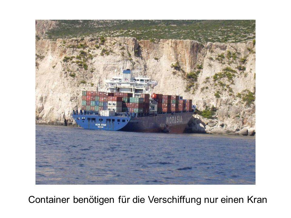 Container benötigen für die Verschiffung nur einen Kran