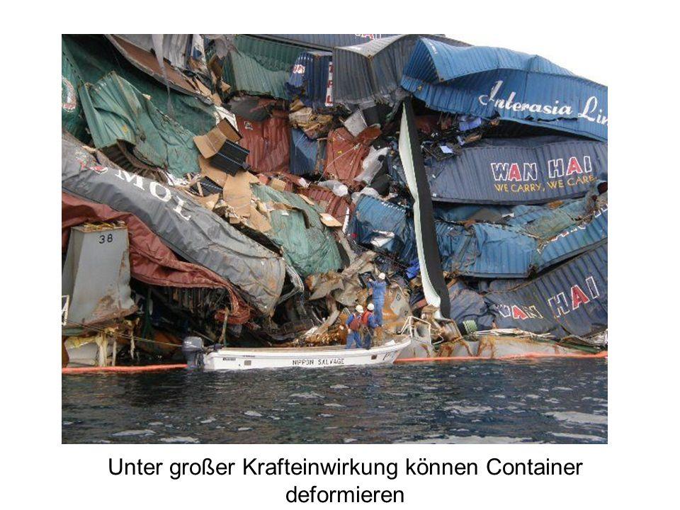 Unter großer Krafteinwirkung können Container deformieren
