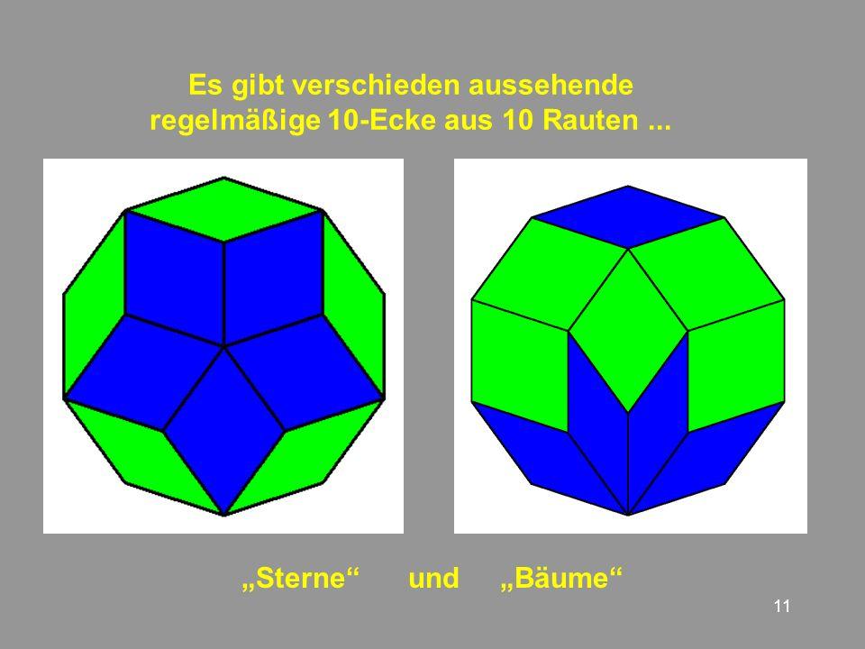 Es gibt verschieden aussehende regelmäßige 10-Ecke aus 10 Rauten ...