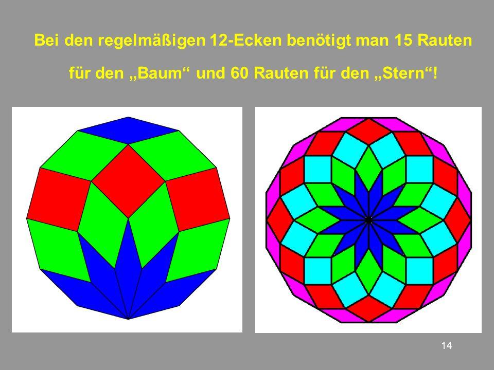 """Bei den regelmäßigen 12-Ecken benötigt man 15 Rauten für den """"Baum und 60 Rauten für den """"Stern !"""