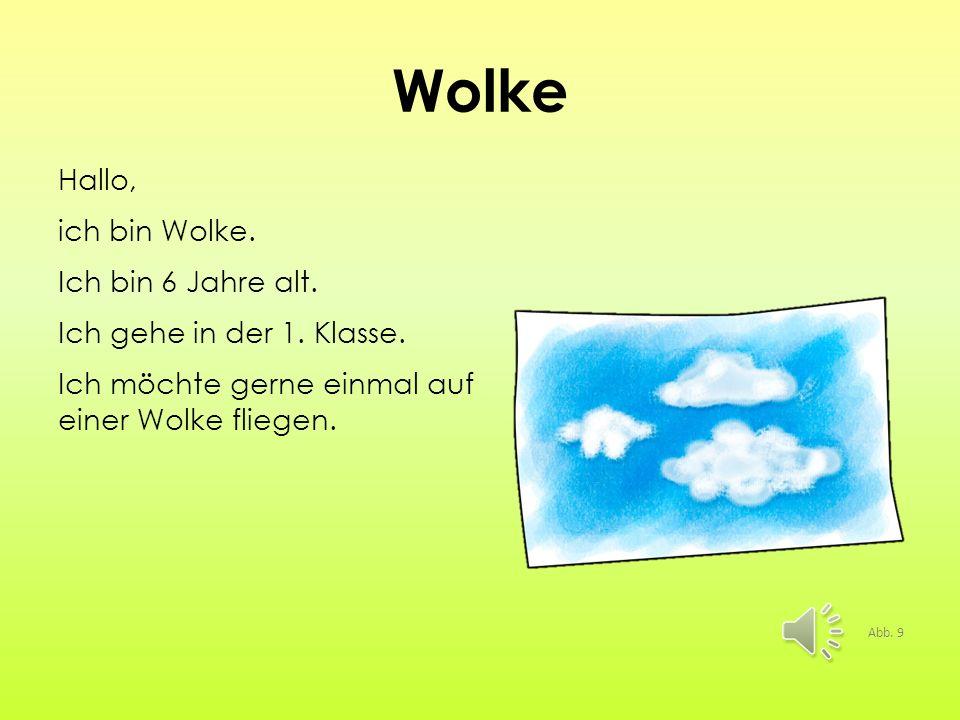 Wolke Hallo, ich bin Wolke. Ich bin 6 Jahre alt. Ich gehe in der 1. Klasse. Ich möchte gerne einmal auf einer Wolke fliegen.