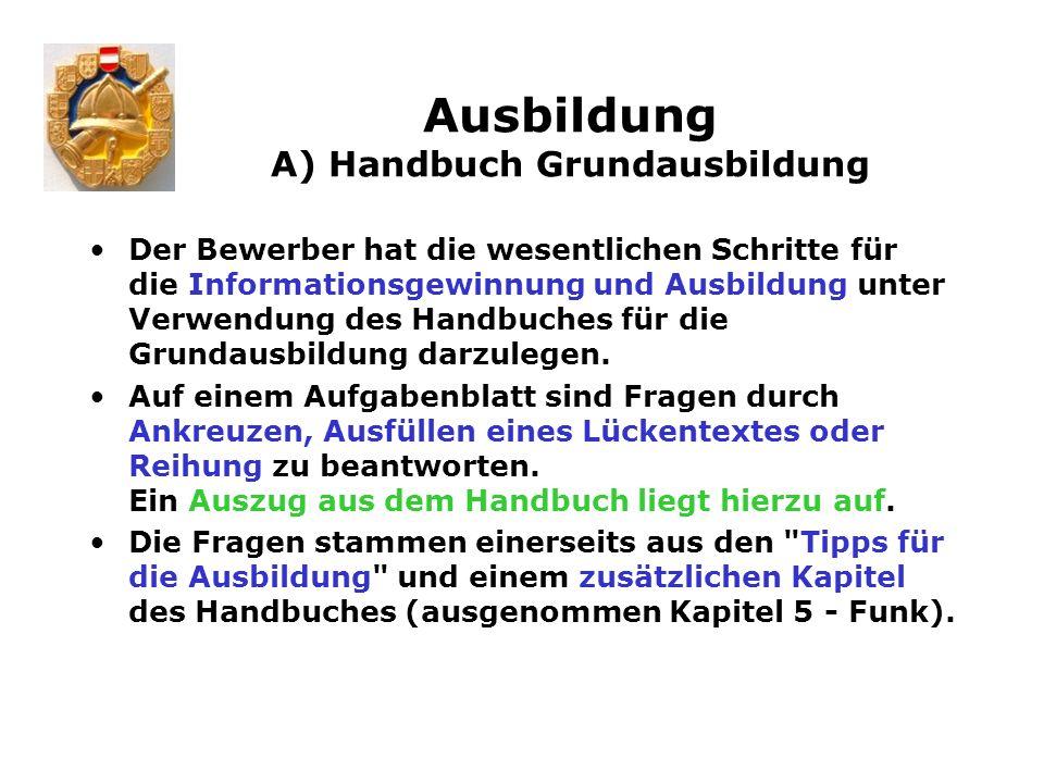 Ausbildung A) Handbuch Grundausbildung