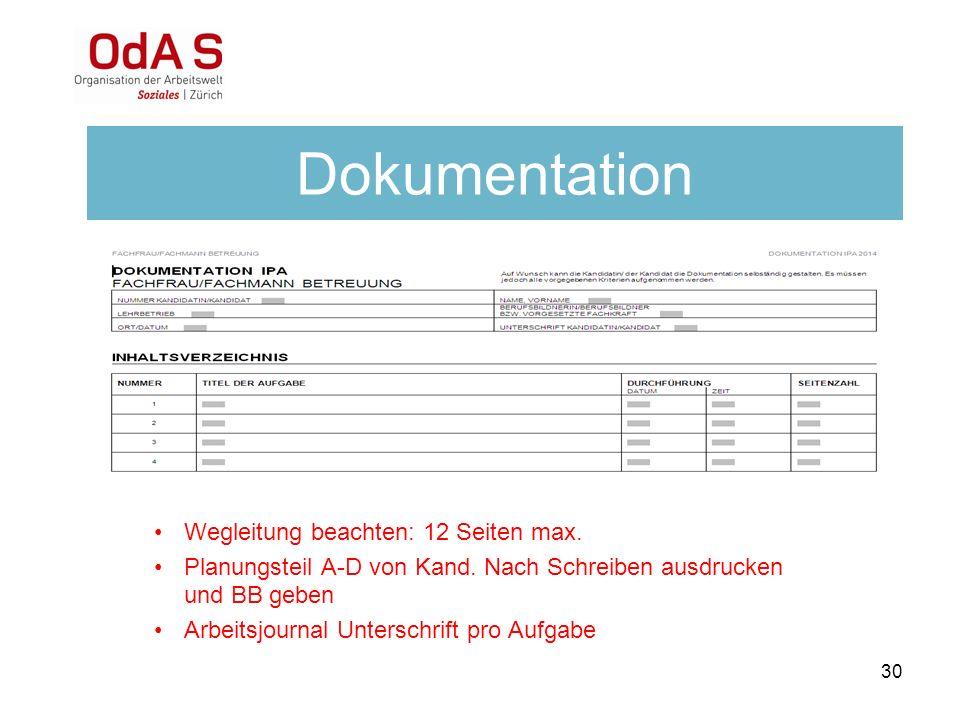 Dokumentation Wegleitung beachten: 12 Seiten max.