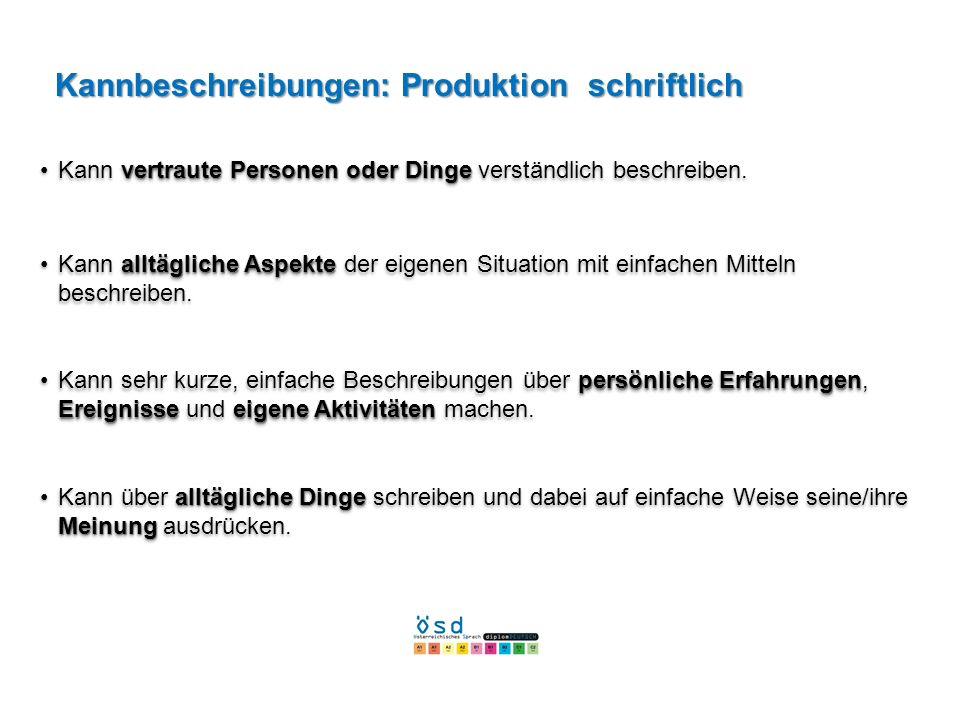 Kannbeschreibungen: Produktion schriftlich