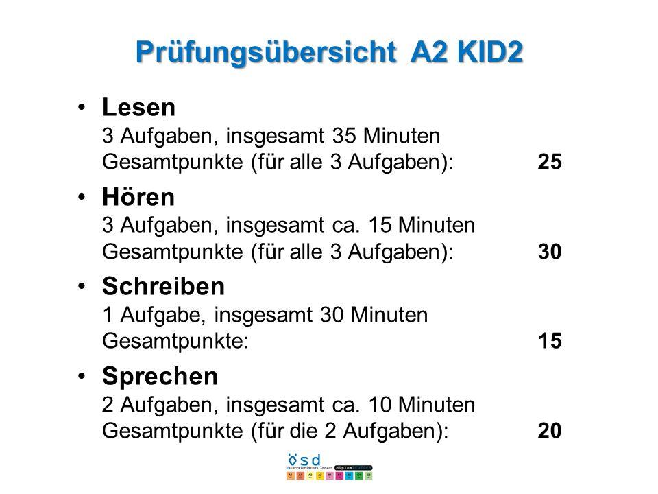 Prüfungsübersicht A2 KID2