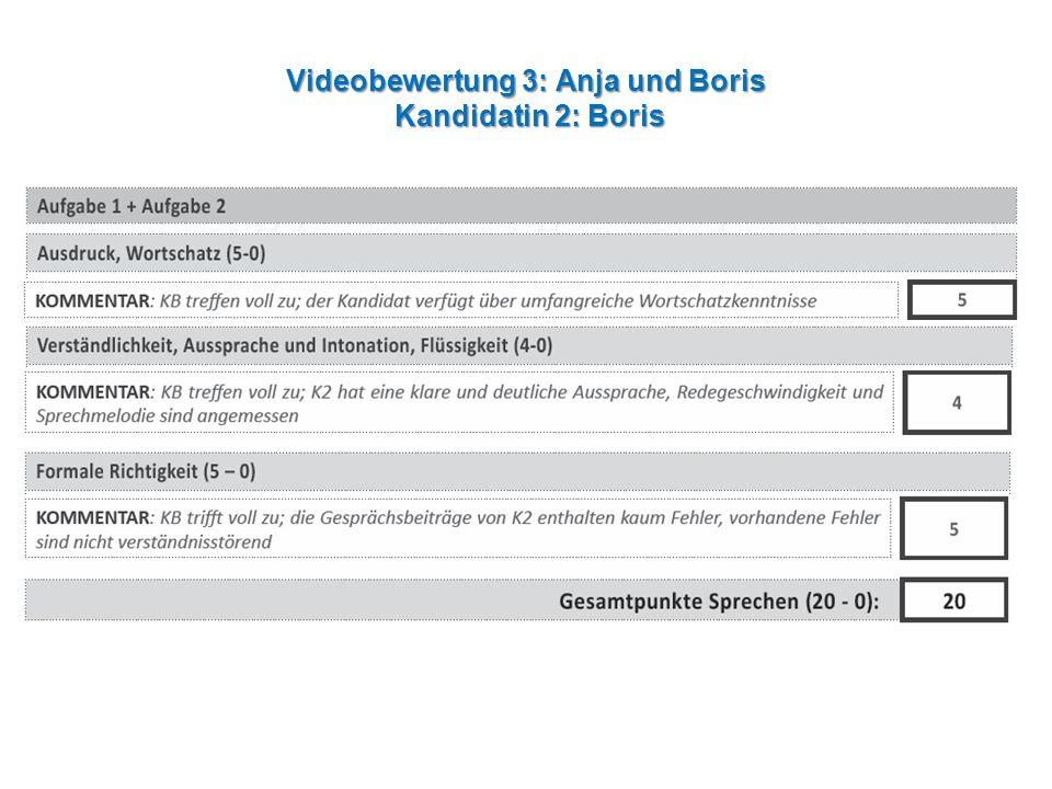 Videobewertung 3: Anja und Boris Kandidatin 2: Boris