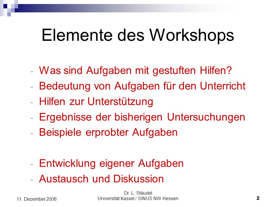 Elemente des Workshops