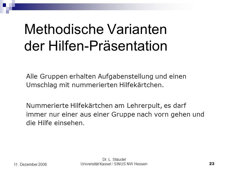 Methodische Varianten der Hilfen-Präsentation