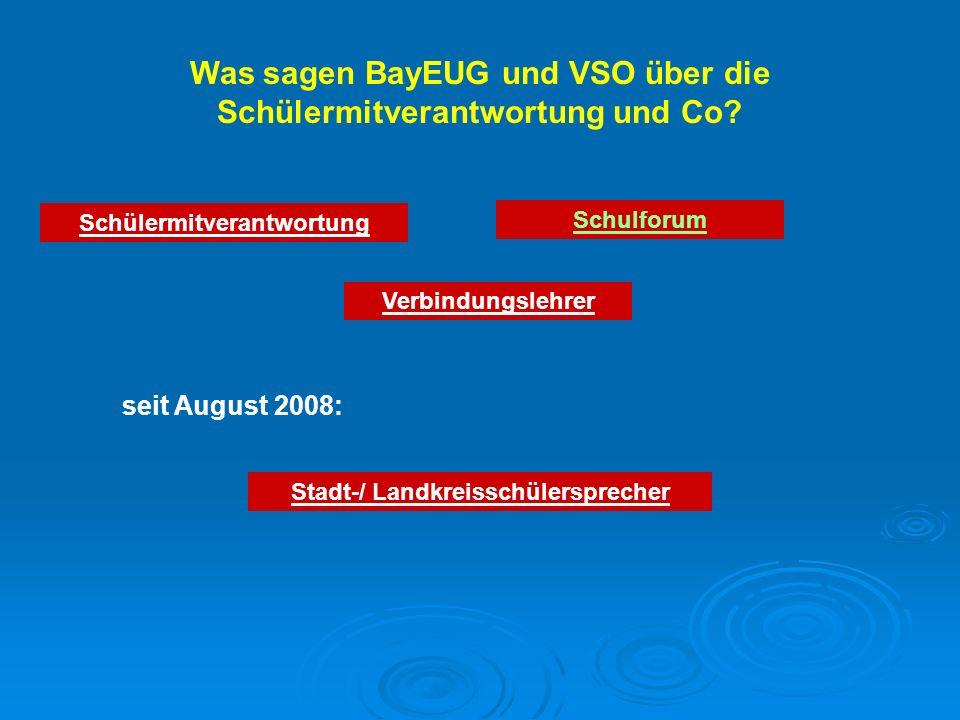 Was sagen BayEUG und VSO über die Schülermitverantwortung und Co