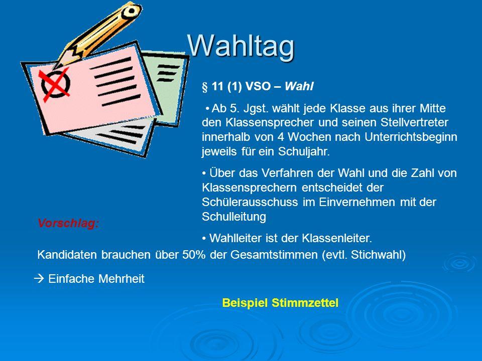 Wahltag § 11 (1) VSO – Wahl.
