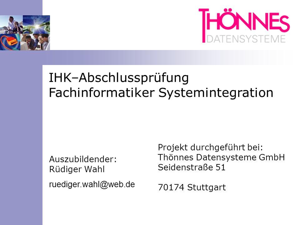 IHK–Abschlussprüfung Fachinformatiker Systemintegration