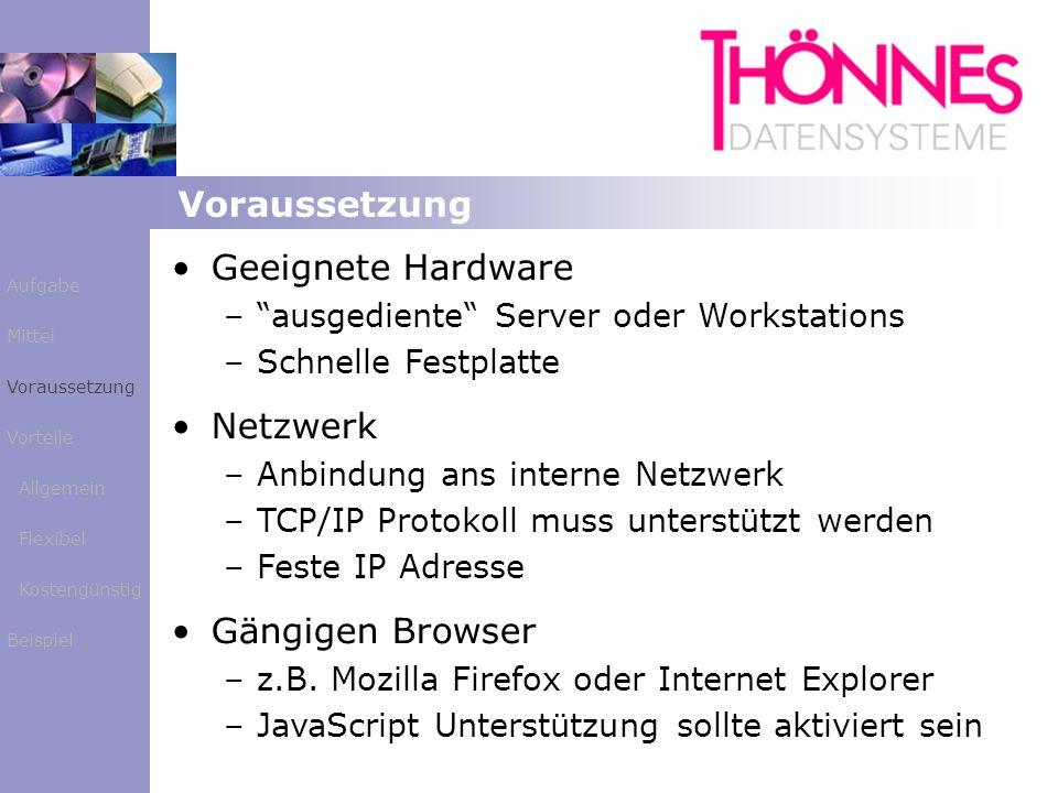 Voraussetzung Geeignete Hardware Netzwerk Gängigen Browser