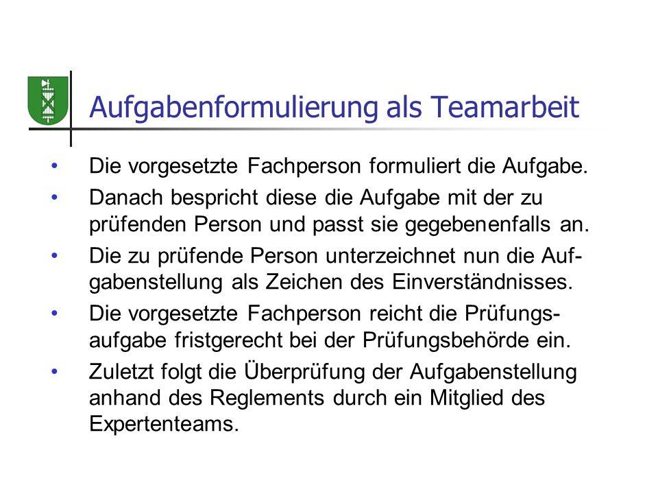 Aufgabenformulierung als Teamarbeit