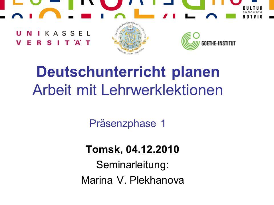 Deutschunterricht planen Arbeit mit Lehrwerklektionen Präsenzphase 1