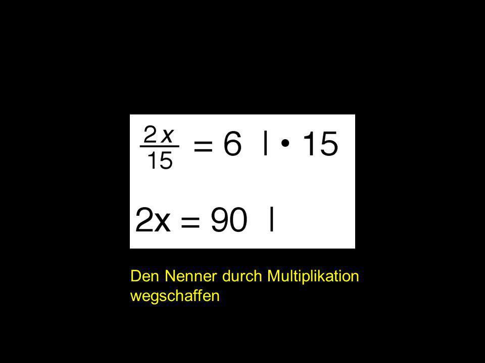 2x = | Den Nenner durch Multiplikation wegschaffen