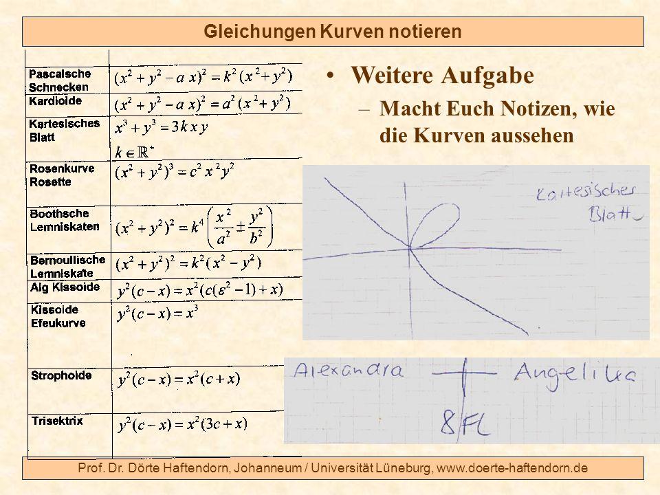 Gleichungen Kurven notieren