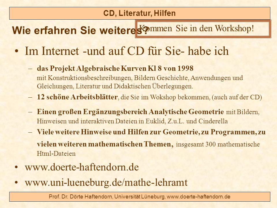 Im Internet -und auf CD für Sie- habe ich