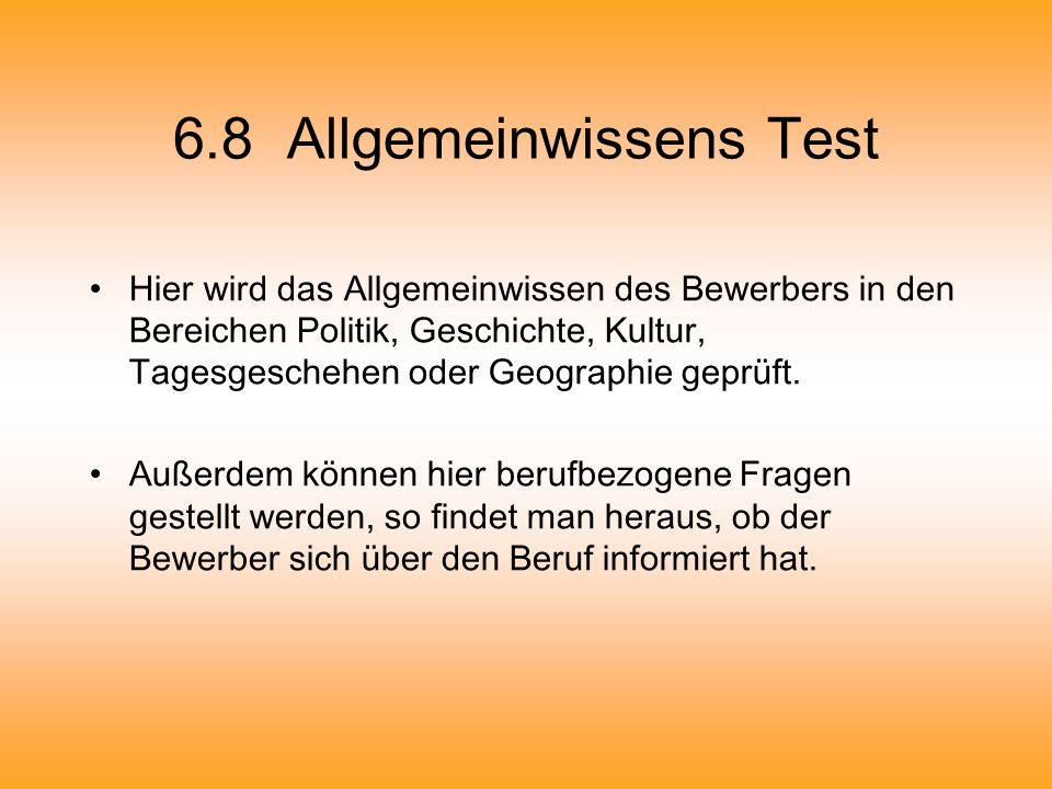 6.8 Allgemeinwissens Test