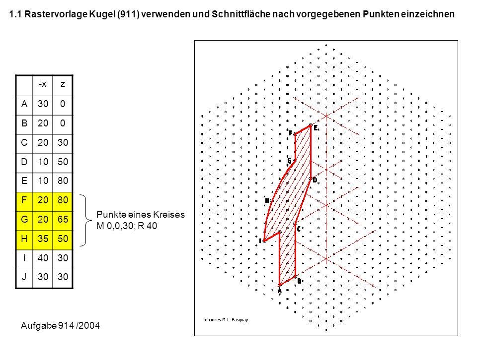1.1 Rastervorlage Kugel (911) verwenden und Schnittfläche nach vorgegebenen Punkten einzeichnen