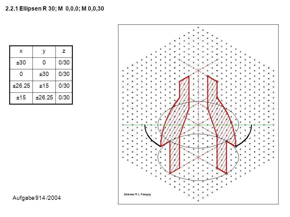 2.2.1 Ellipsen R 30; M 0,0,0; M 0,0,30 x y z ±30 0/30 ±26.25 ±15 Aufgabe 914 /2004