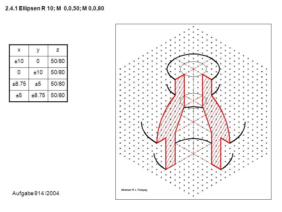2.4.1 Ellipsen R 10; M 0,0,50; M 0,0,80 x y z ±10 50/80 ±8.75 ±5 Aufgabe 914 /2004