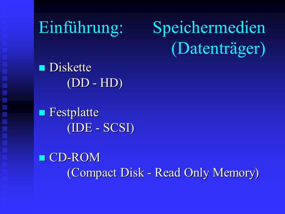 Einführung: Speichermedien (Datenträger)