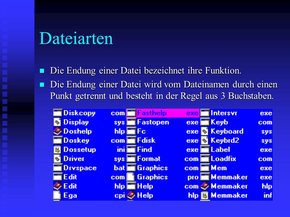 Dateiarten Die Endung einer Datei bezeichnet ihre Funktion.