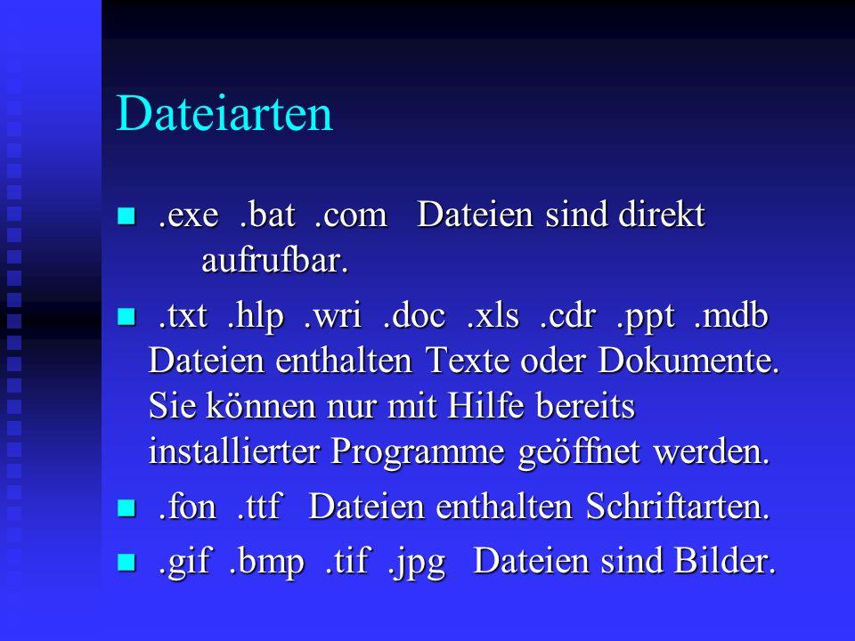 Dateiarten .exe .bat .com Dateien sind direkt aufrufbar.