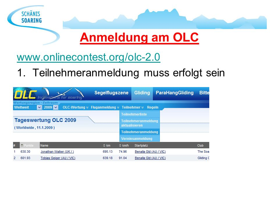 Anmeldung am OLC www.onlinecontest.org/olc-2.0
