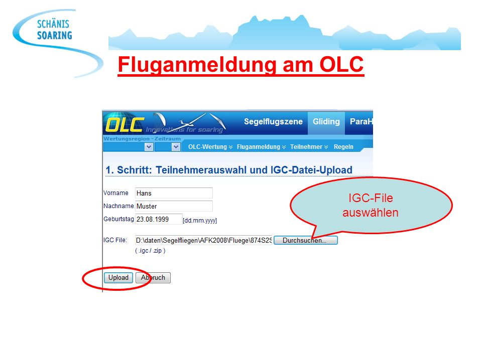 Fluganmeldung am OLC IGC-File auswählen