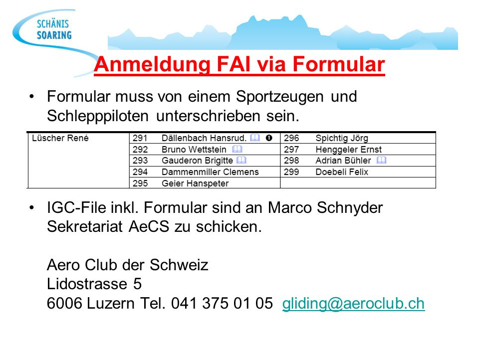 Anmeldung FAI via Formular