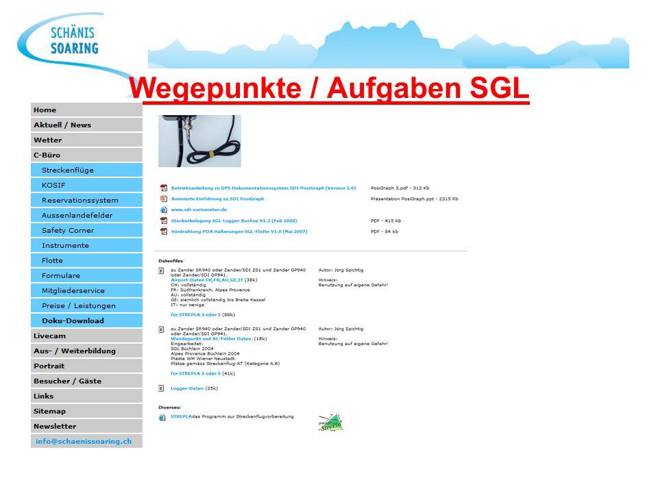 Wegepunkte / Aufgaben SGL