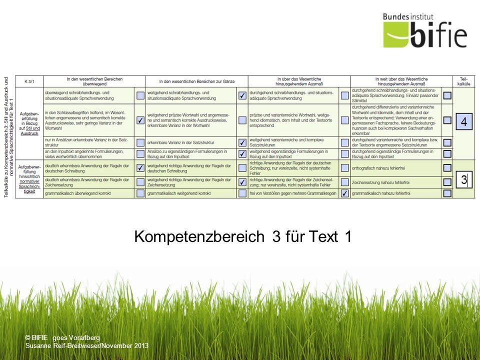 Kompetenzbereich 3 für Text 1