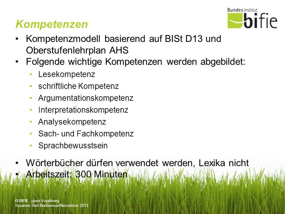 Kompetenzen Kompetenzmodell basierend auf BISt D13 und Oberstufenlehrplan AHS. Folgende wichtige Kompetenzen werden abgebildet: