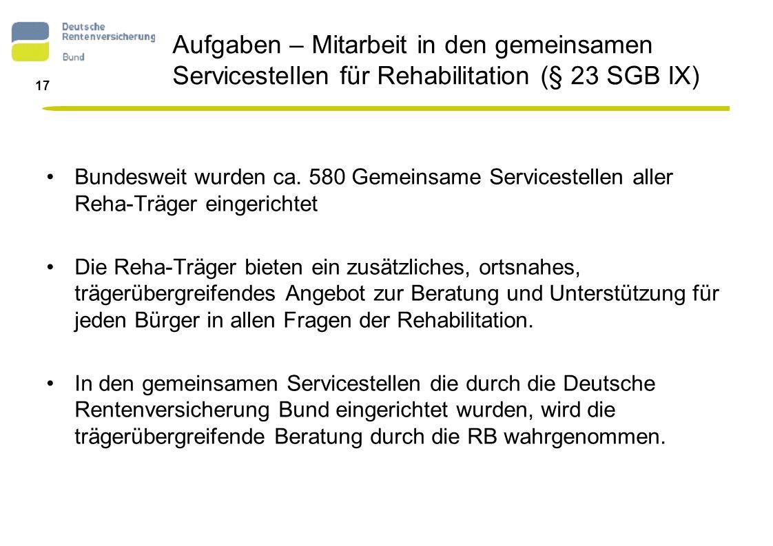 Aufgaben – Mitarbeit in den gemeinsamen Servicestellen für Rehabilitation (§ 23 SGB IX)