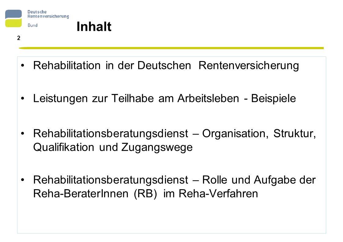 Inhalt Rehabilitation in der Deutschen Rentenversicherung