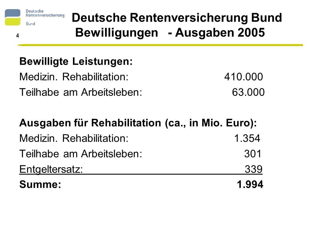 Deutsche Rentenversicherung Bund Bewilligungen - Ausgaben 2005