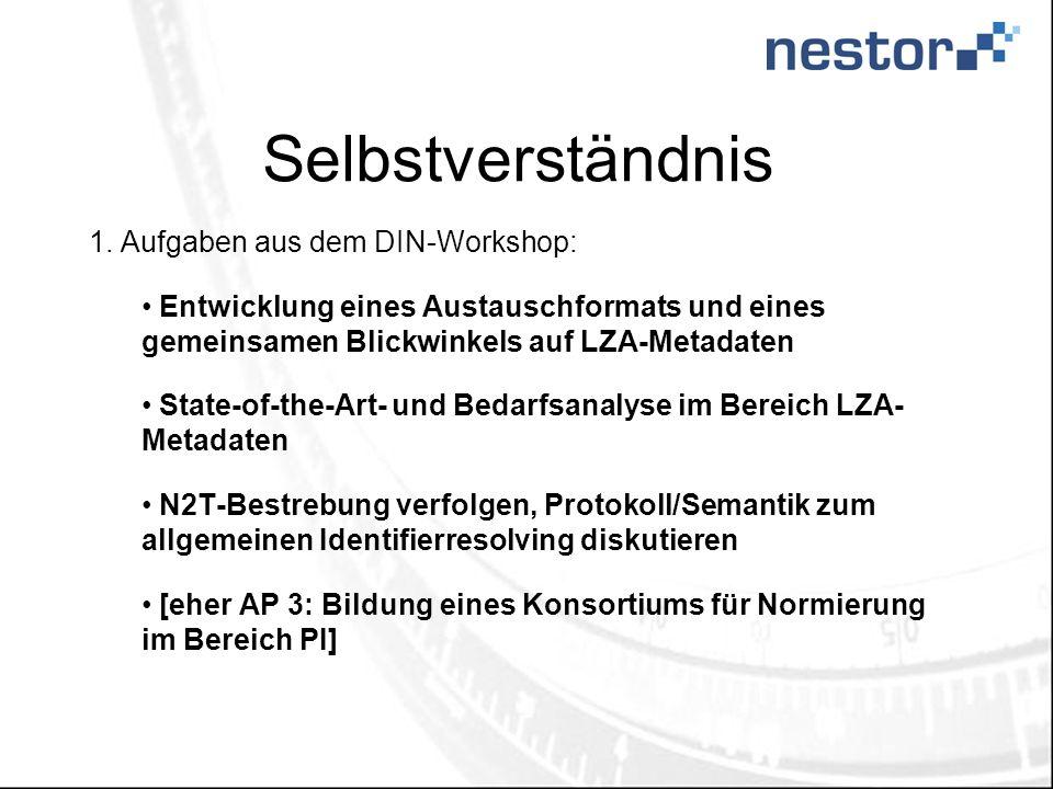 Selbstverständnis Aufgaben aus dem DIN-Workshop: