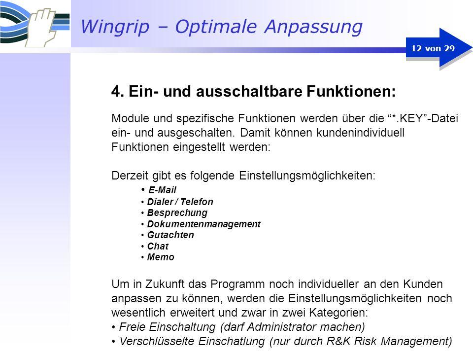 4. Ein- und ausschaltbare Funktionen: