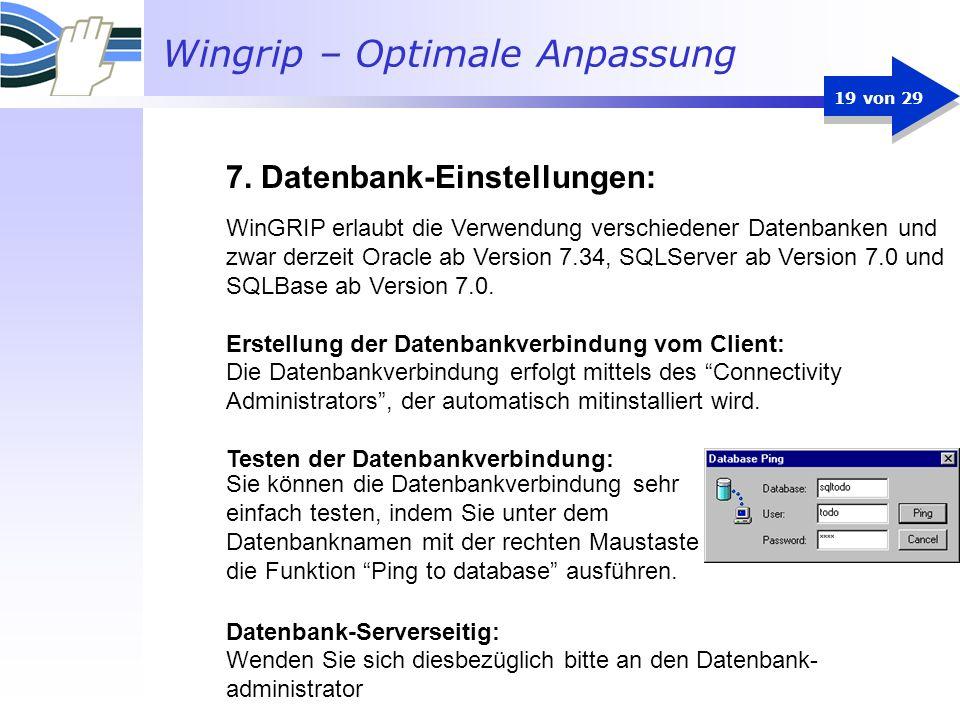 7. Datenbank-Einstellungen: