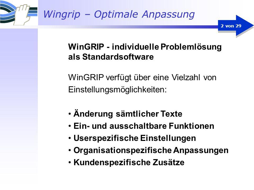 WinGRIP - individuelle Problemlösung als Standardsoftware