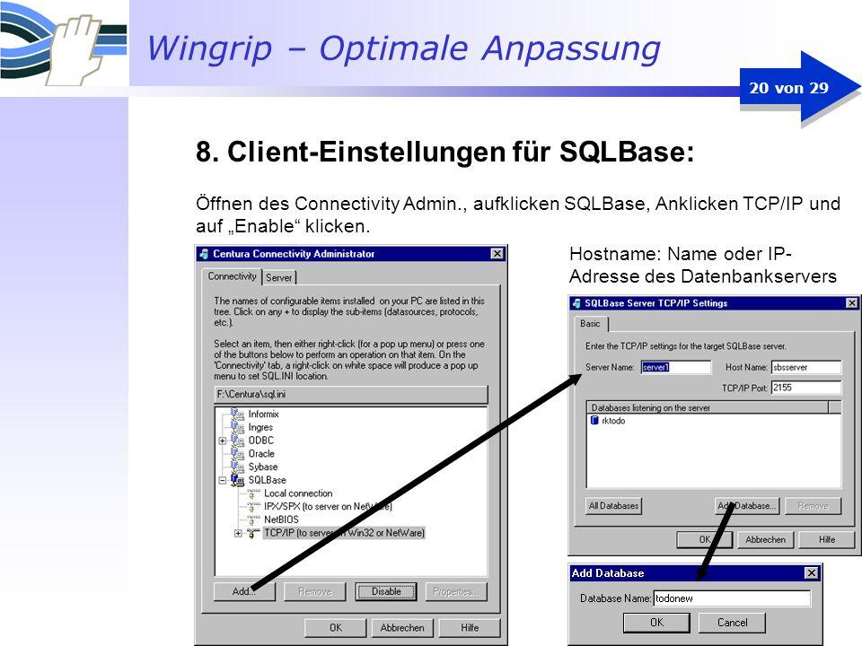 8. Client-Einstellungen für SQLBase: