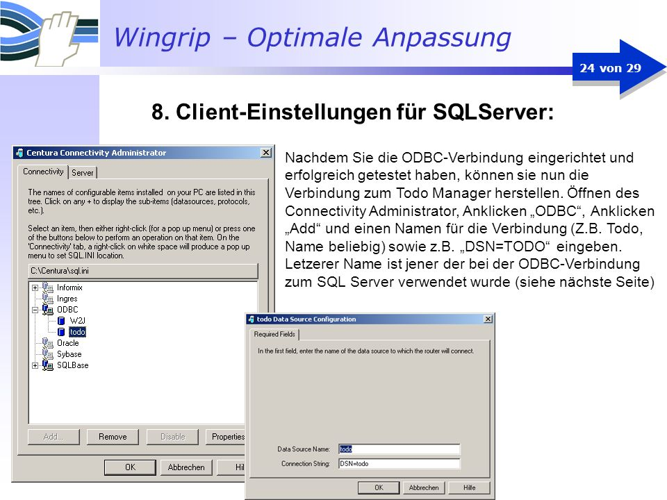 8. Client-Einstellungen für SQLServer: